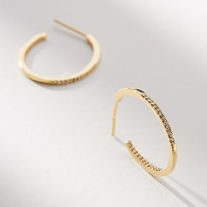 Anthropologie Shining Trim Hoop Earrings 14K Plate